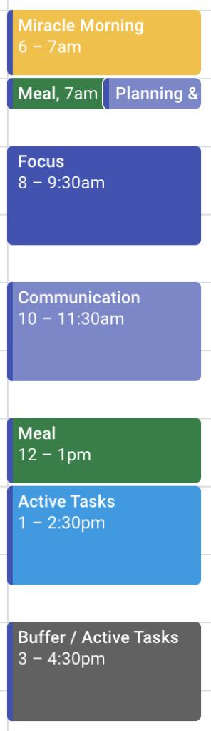 Блочное планирование в Google Calendar